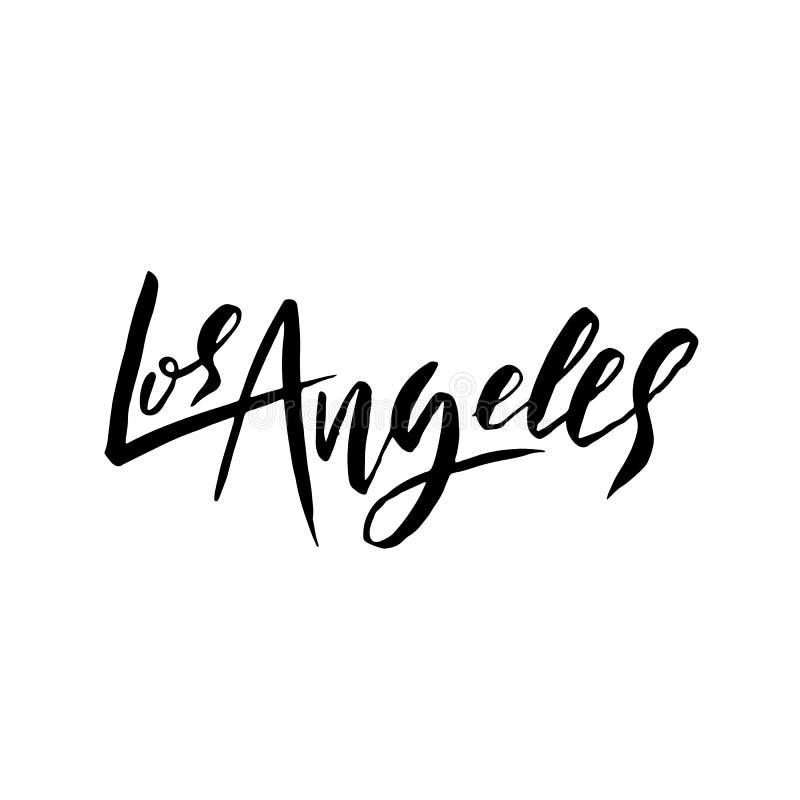 Los Ángeles, los E Diseño de letras seco del cepillo de la tipografía Cartel dibujado mano de la caligrafía Ilustración del vecto stock de ilustración