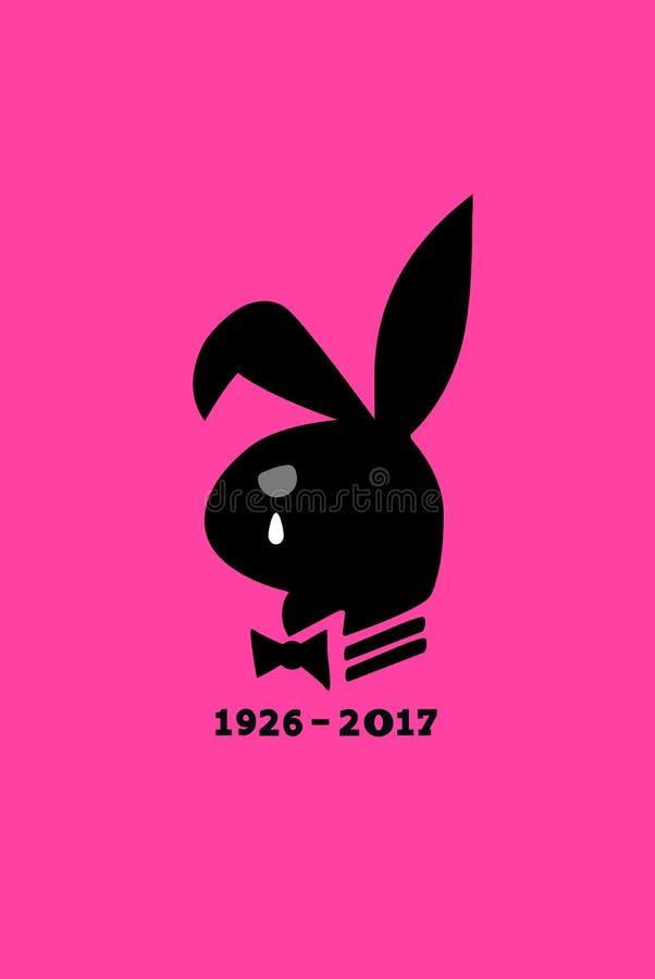 LOS ÁNGELES, los E.E.U.U., el 28 de septiembre de 2017 - el mundo está de luto la muerte de Hugh Hefner ilustración del vector