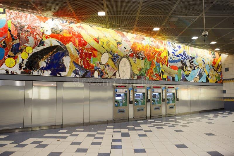 Los Ángeles, los E.E.U.U., 2016:02: estación de metro 25, ciudad universal fotografía de archivo