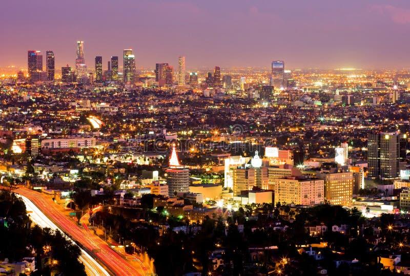 Los Ángeles en la noche fotos de archivo