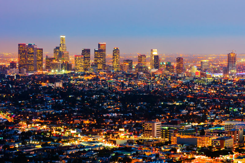 Los Ángeles en la noche foto de archivo