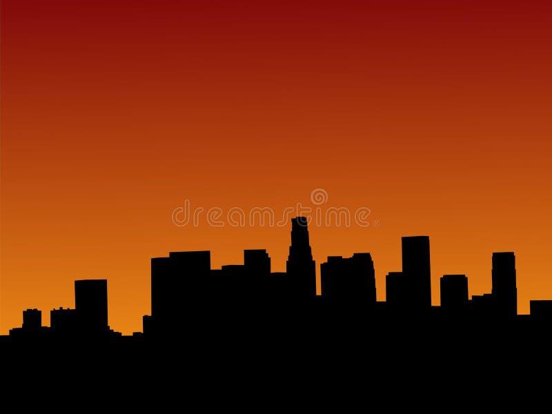Los Ángeles en la puesta del sol ilustración del vector