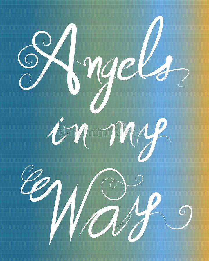 Los ángeles en mi letra hecha a mano de la palabra de la manera firman el fondo stock de ilustración