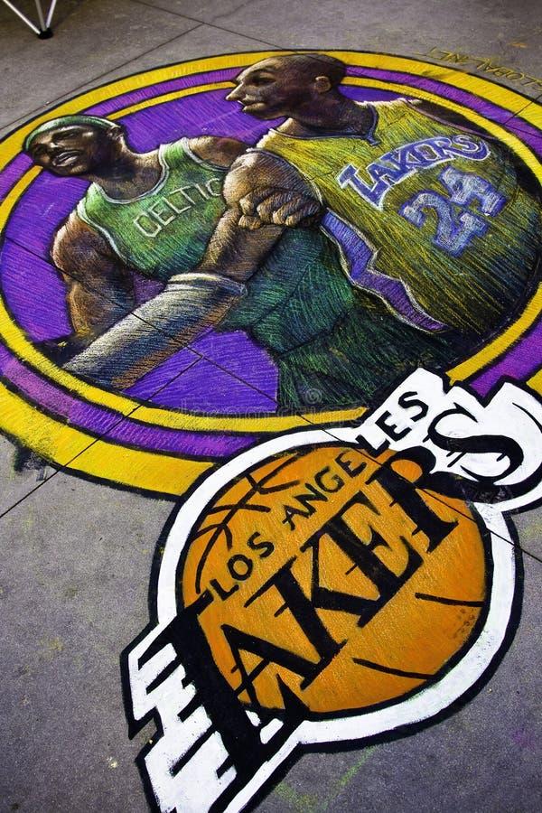 Los Ángeles Lakers - Kobe Bryan y granate de Kevin imágenes de archivo libres de regalías