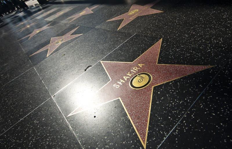 Los Ángeles - Shakira Star en el paseo de Hollywood de la fama foto de archivo