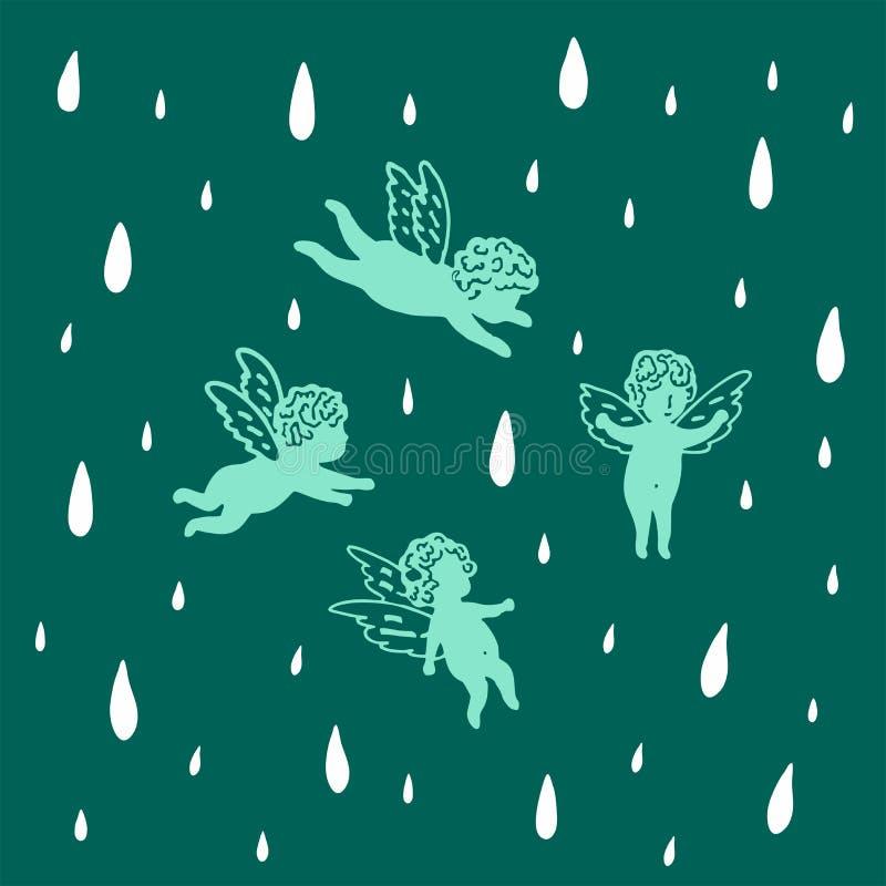 Los ángeles vuelan en el cielo bajo la lluvia libre illustration