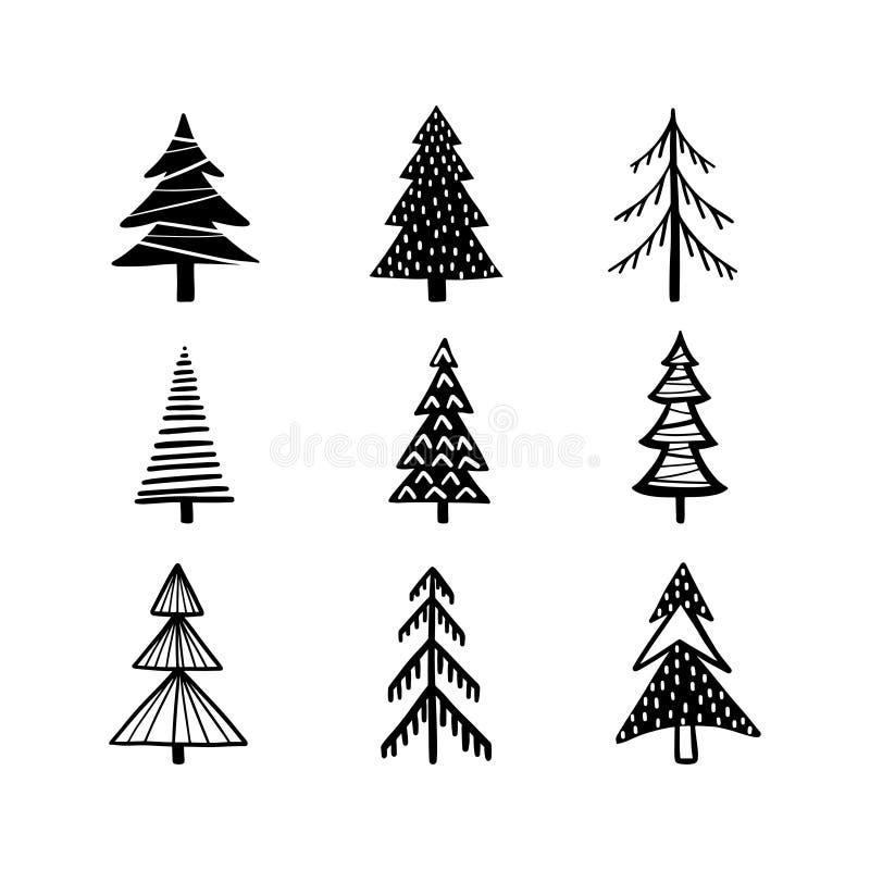 Los árboles de navidad dan el sistema exhausto Ejemplo del vintage del vector stock de ilustración