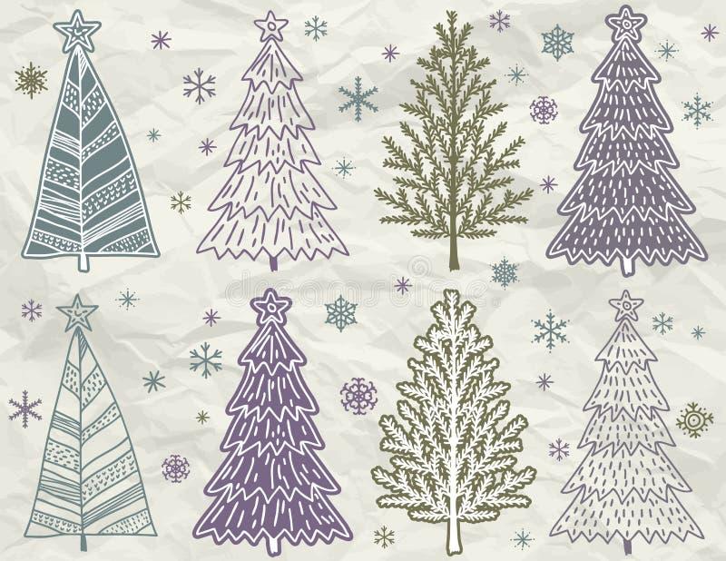 Los árboles de navidad en beije arrugan el fondo stock de ilustración