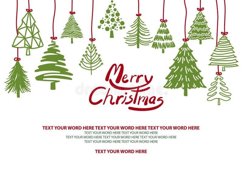Los árboles de navidad verdes cuelgan del top en el fondo blanco stock de ilustración