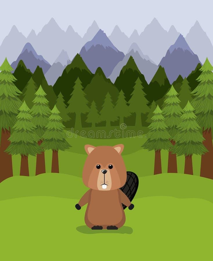 Los árboles del animal y de pino del castor diseñan libre illustration