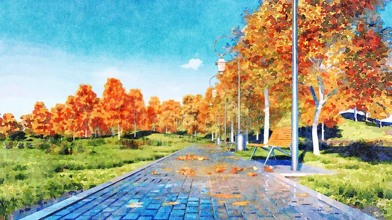 Los árboles del otoño en una ciudad parquean paisaje de la acuarela ilustración del vector