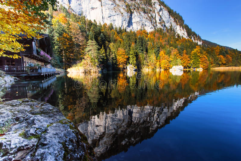 Los árboles del otoño y los acantilados de la montaña con el cielo azul reflejaron en un lago, Austria, el Tyrol, Berglsteinersee foto de archivo