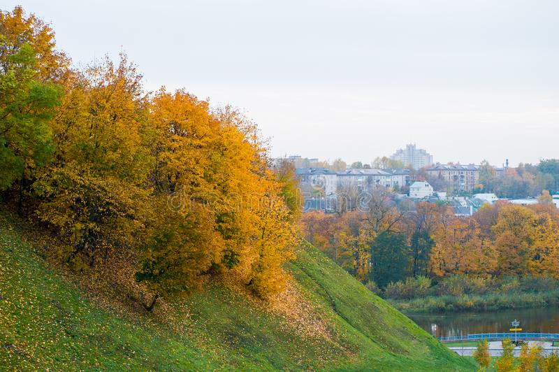 Los árboles en la ladera, otoño resbalan abajo, el inicio del follaje amarillo fotografía de archivo