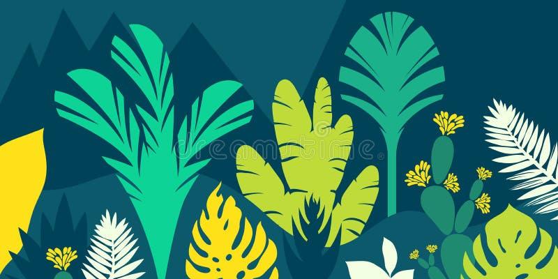 Los árboles son tropicales hojoso, helechos Paisaje de la montaña Estilo plano Preservación del ambiente, bosques parque, al aire ilustración del vector