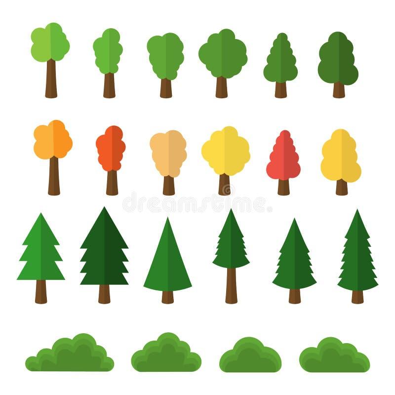 Los árboles y los arbustos de la historieta embalan los iconos aislados en el fondo blanco Ilustración del vector libre illustration