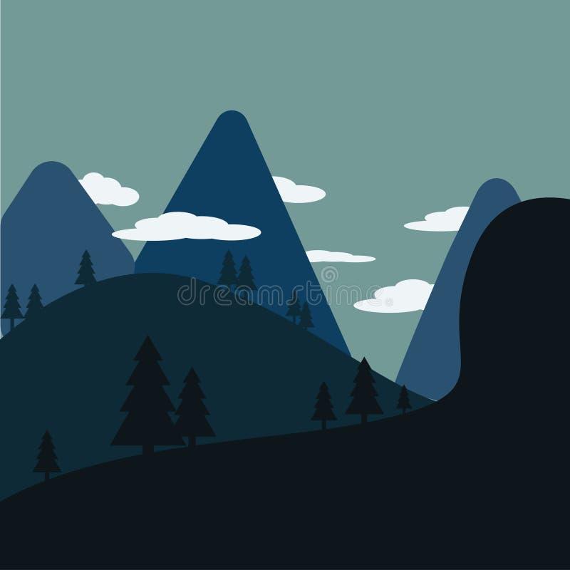 Los árboles y la noche salvaje stock de ilustración