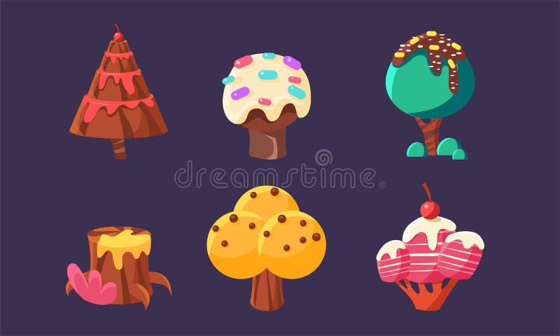 Los árboles y las plantas dulces lindos del caramelo fijaron, los elementos coloridos de la fantasía para el móvil o vector de lo ilustración del vector