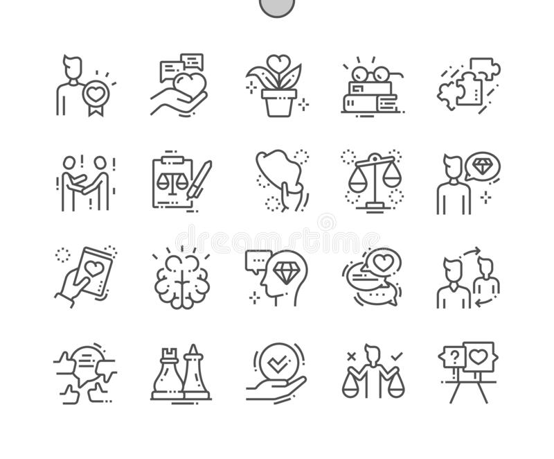 Los éticas Bien-hicieron la línea fina rejilla 2x de los iconos 30 del vector a mano perfecto del pixel para los gráficos y Apps  stock de ilustración