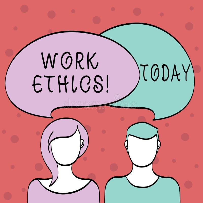 Los éticas de trabajo del texto de la escritura de la palabra Concepto del negocio para el principio que trabaja difícilmente el  ilustración del vector