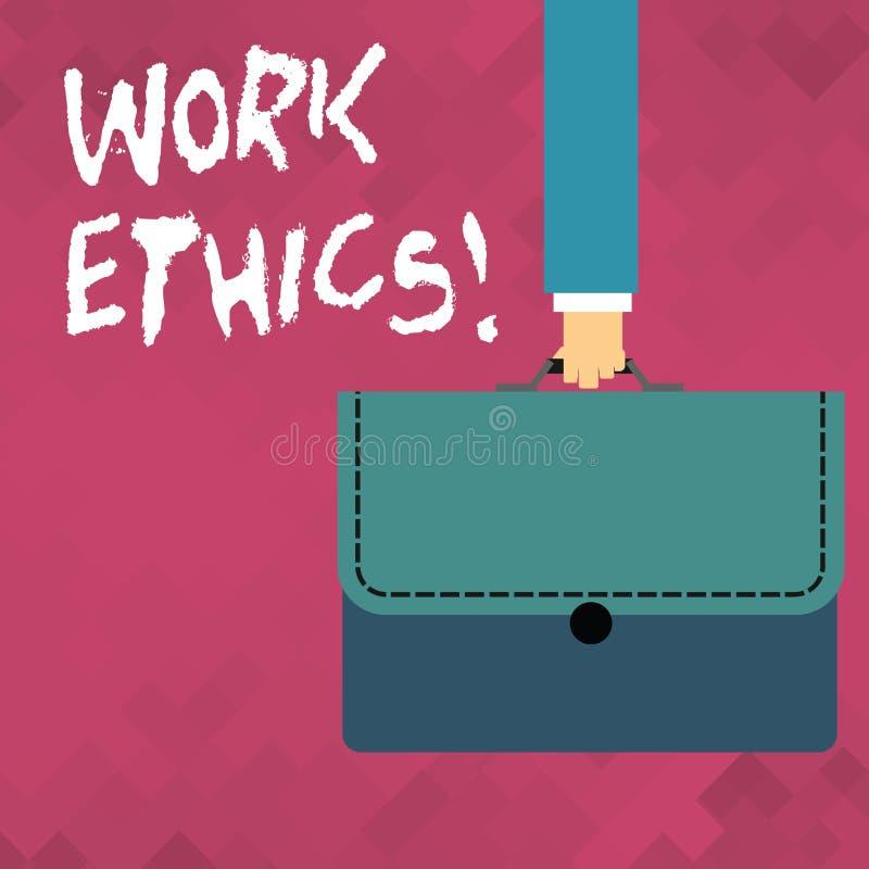 Los éticas de trabajo del texto de la escritura de la palabra Concepto del negocio para el principio que trabaja difícilmente la  stock de ilustración
