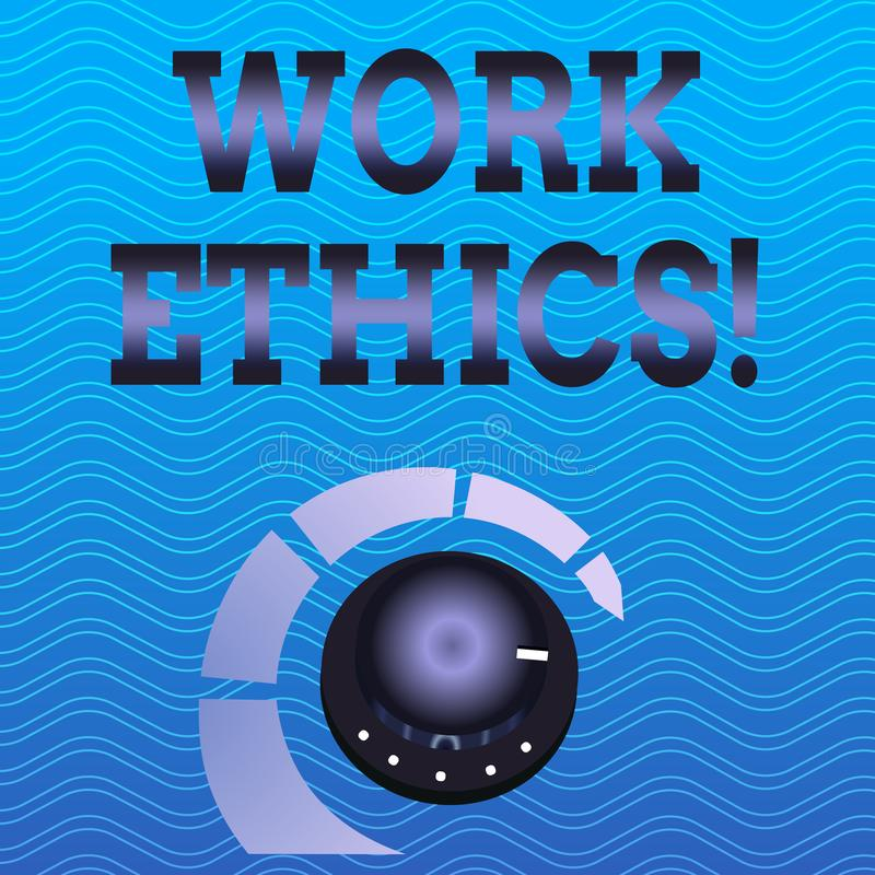 Los éticas de trabajo del texto de la escritura de la palabra Concepto del negocio para el principio que trabaja difícilmente el  libre illustration
