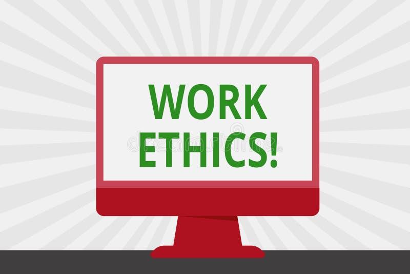 Los éticas de trabajo del texto de la escritura Principio del significado del concepto que trabaja difícilmente el espacio en bla stock de ilustración