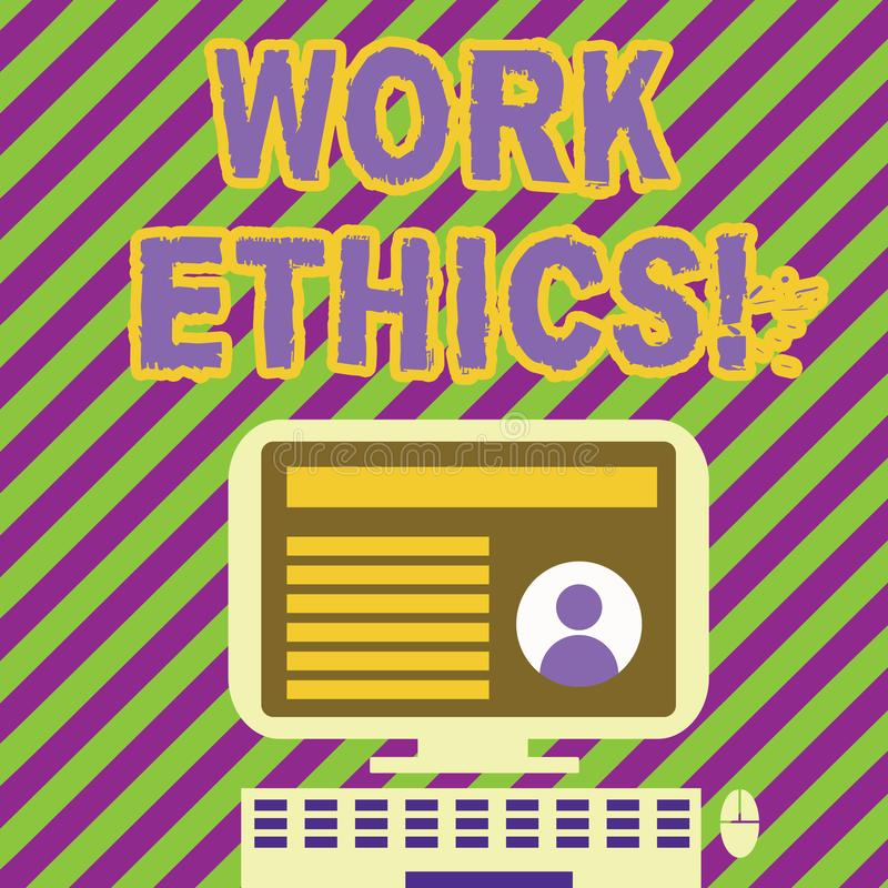 Los éticas de trabajo de la escritura del texto de la escritura Principio del significado del concepto que trabaja difícilmente l libre illustration