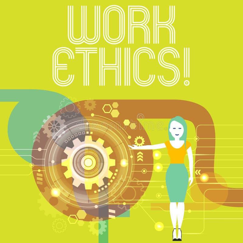 Los éticas de trabajo de la escritura del texto de la escritura Principio del significado del concepto que trabaja difícilmente l stock de ilustración