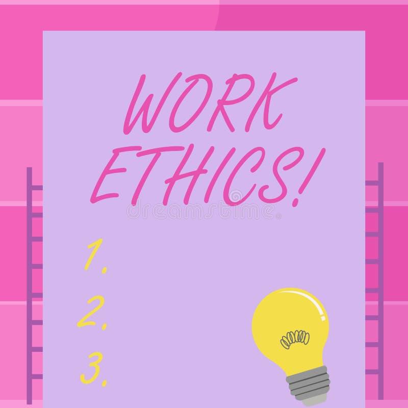 Los éticas de trabajo de la escritura del texto de la escritura Principio del significado del concepto que trabaja difícilmente l ilustración del vector