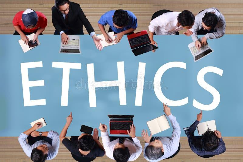 Los éticas en concepto del negocio Encuentro de los hombres de negocios de la visión superior fotos de archivo
