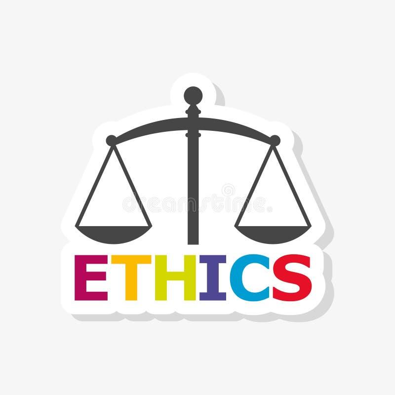 Los éticas palabra, los éticas mandan un SMS, etiqueta engomada de los éticas ilustración del vector