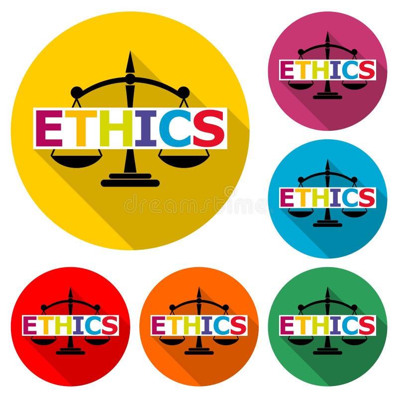 Los éticas palabra, los éticas mandan un SMS, los éticas icono o el logotipo, sistema de color con la sombra larga stock de ilustración