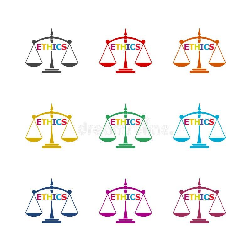 Los éticas palabra, los éticas mandan un SMS, los éticas icono o logotipo, sistema de color stock de ilustración
