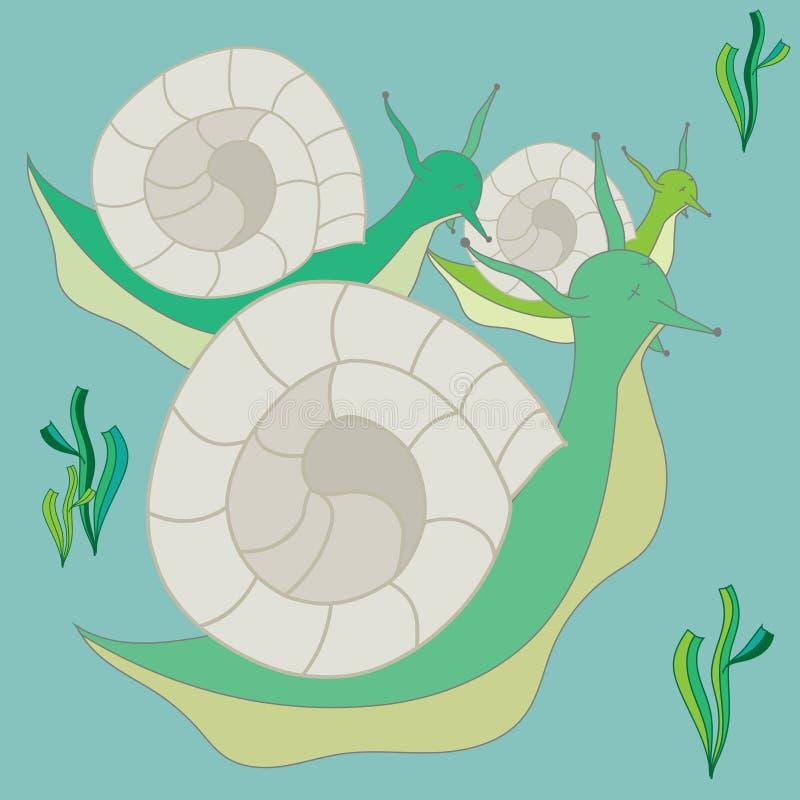 Los últimos caracoles compiten con ilustración del vector