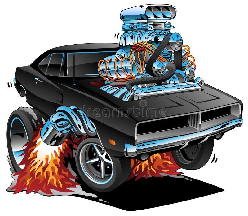 Los años 60 clásicos diseñan el coche americano del músculo, motor enorme de Chrome, haciendo estallar un Wheelie, ejemplo del ve stock de ilustración