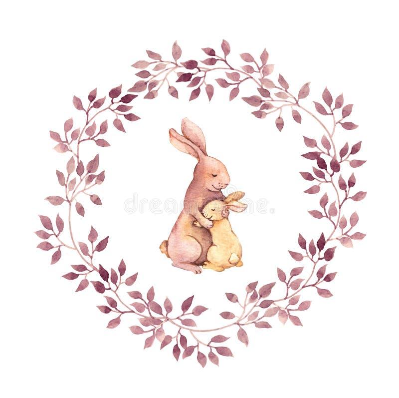 Los abrazos animales - mime al conejo abrazan a su bebé Imagen pintada a mano de la acuarela en guirnalda floral stock de ilustración