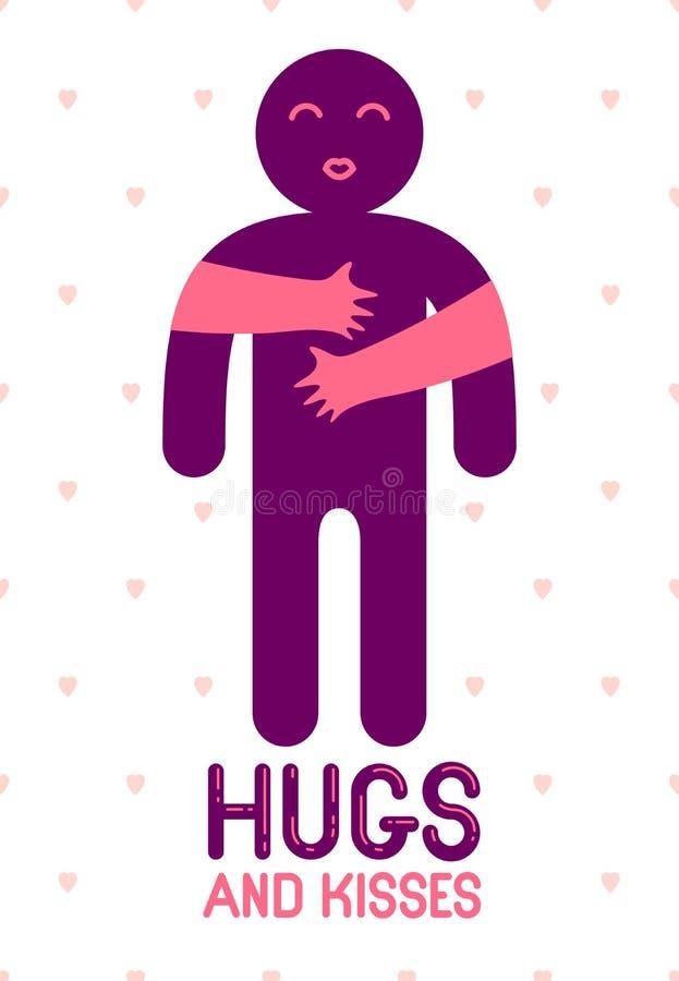 Los abrazos y los besos con las manos de amor de los labios amados de la persona y el besarse, mujer del amante que abraza su hom ilustración del vector