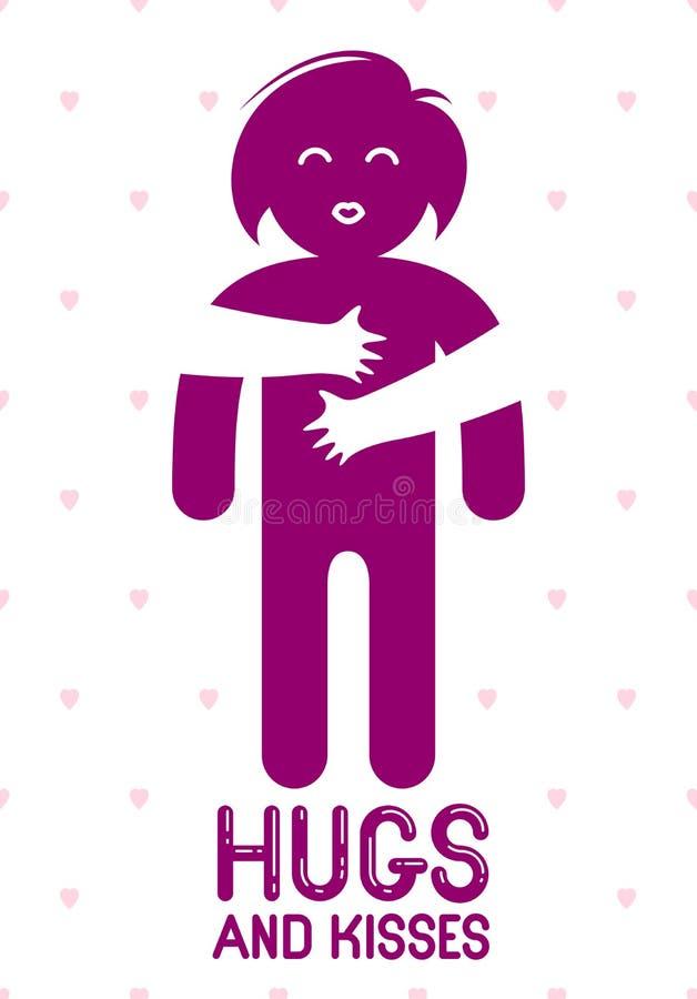 Los abrazos y los besos con las manos de amor de los labios queridos de la persona y el besarse, mujer del amante que abraza su c stock de ilustración