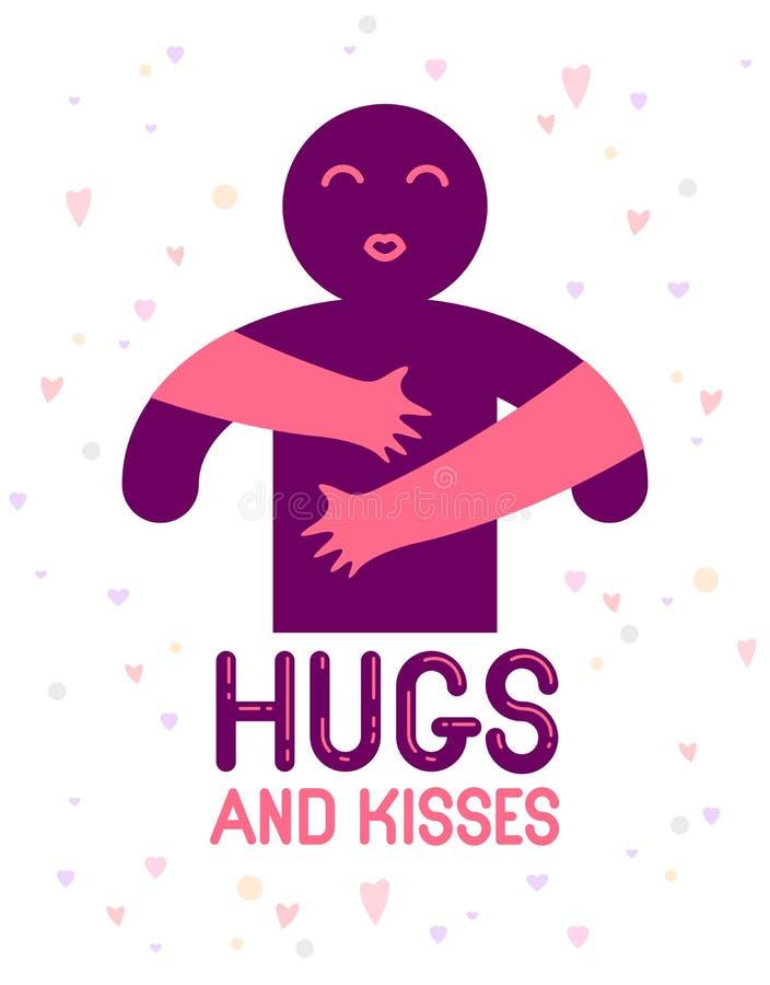 Los abrazos y los besos con las manos de amor de los labios queridos de la persona y el besarse, mujer del amante que abraza su h ilustración del vector