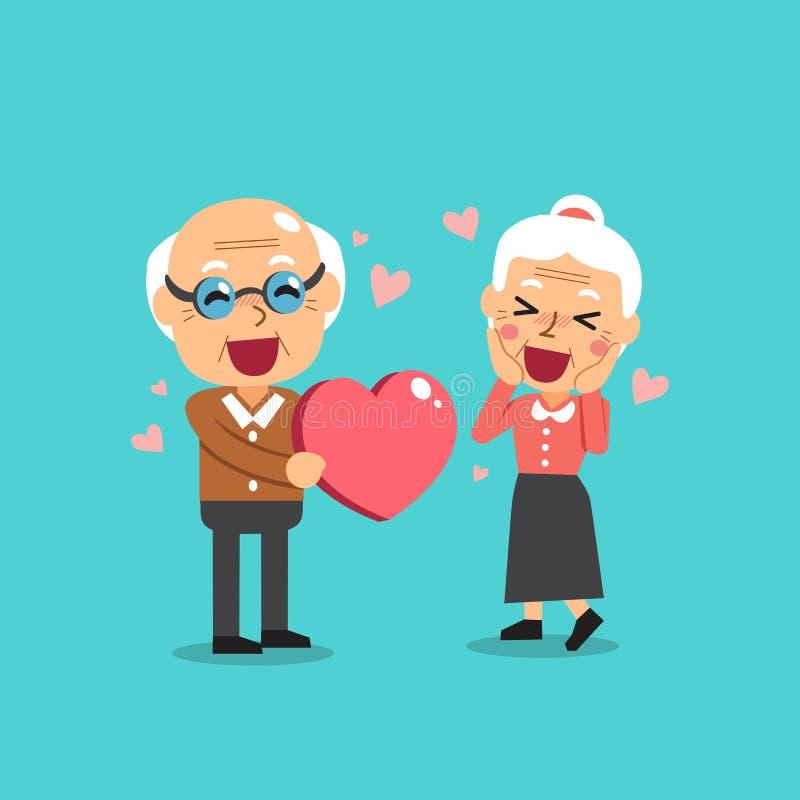 Los abuelos felices con el corazón grande vector el ejemplo de la historieta stock de ilustración