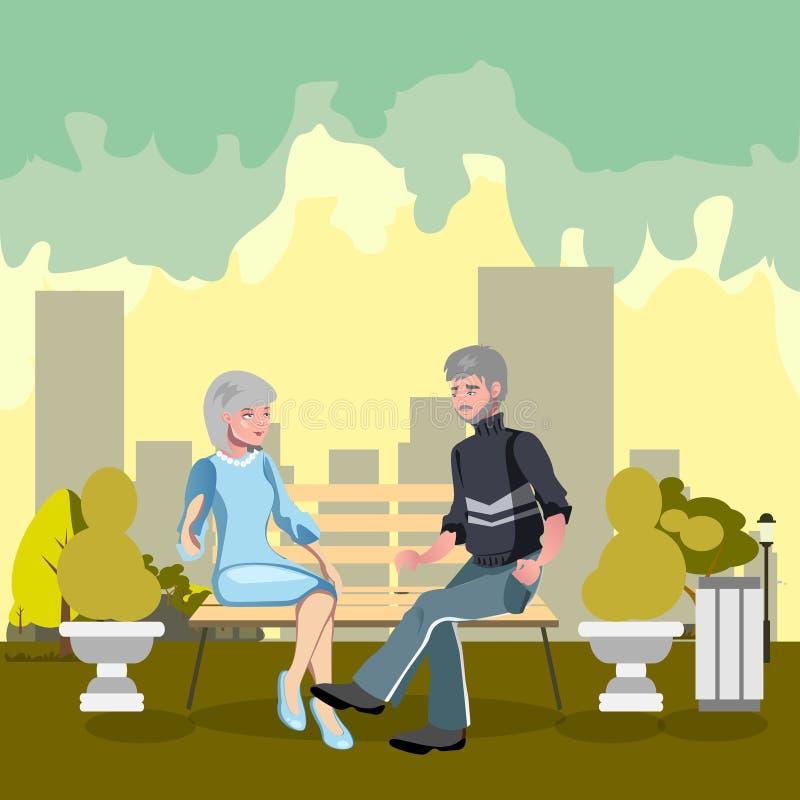 Los abuelos se están sentando en un banco en el parque ilustración del vector
