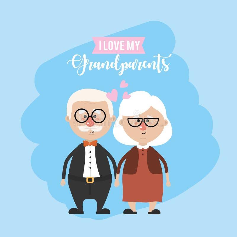 Los abuelos se juntan juntos y amor lindo ilustración del vector