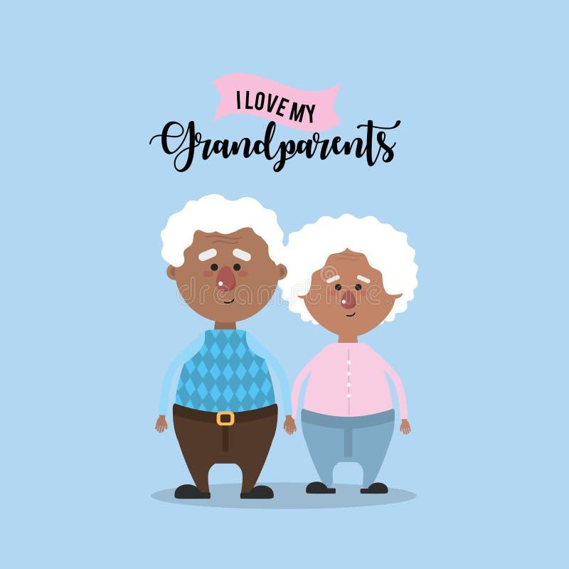 Los abuelos se juntan juntos y amor lindo libre illustration