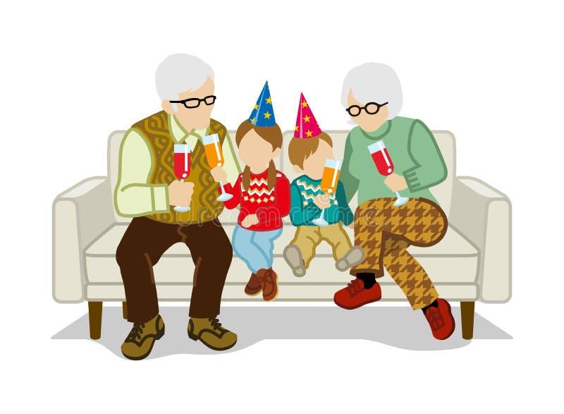 Los abuelos y los nietos se sientan en el sofá ilustración del vector