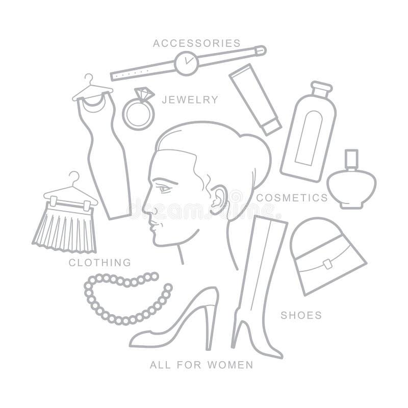 Los accesorios de las mujeres, cosas de las mujeres, iconos, planos stock de ilustración