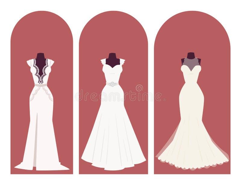Los accesorios de vestir de la ducha nupcial de la celebración del estilo de la elegancia del vestido de la novia de la boda vect ilustración del vector