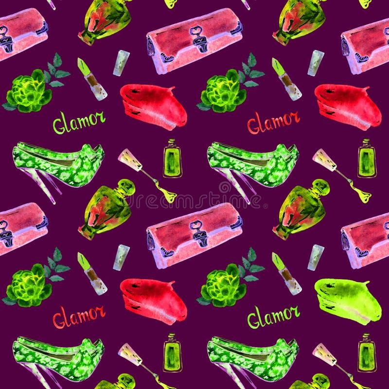Los accesorios del encanto, bolso de embrague, lápiz labial, perfume, guepardo mancharon los zapatos de los estiletes del ante, b libre illustration