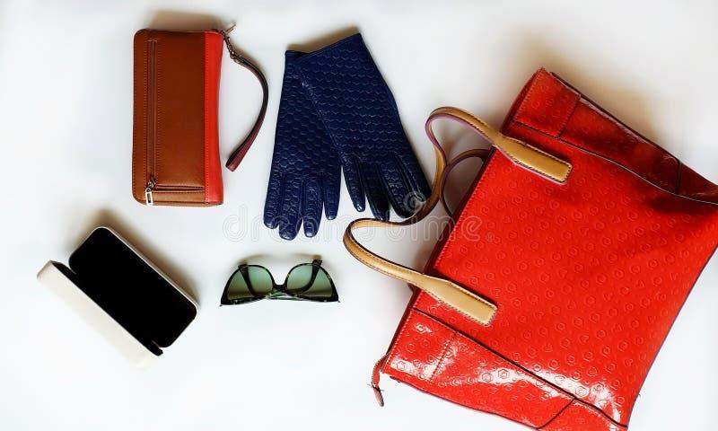 Los accesorios l primavera roja Autumn Womens Accessories de las mujeres de la moda del monedero de las gafas de sol de los guant fotos de archivo