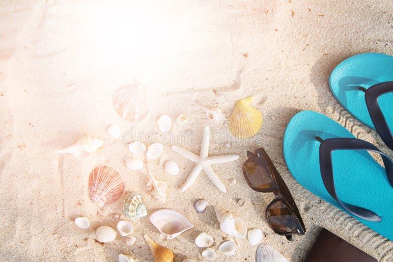 Los accesorios tropicales con las gafas de sol, sandalia azul, el pasaporte en la playa como fondo de la concha marina, las estre imágenes de archivo libres de regalías