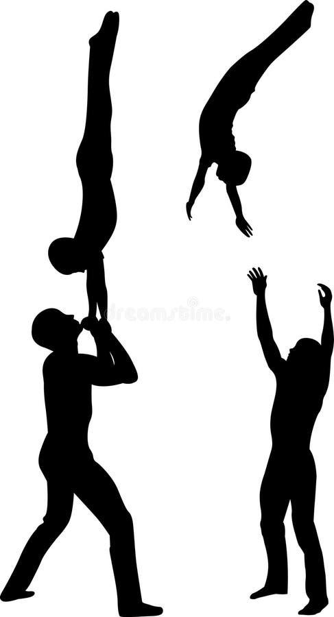 Los acróbatas de los gimnastas vector la silueta negra en fondo negro Vector de los acróbatas de los gimnastas ilustración del vector